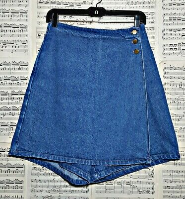 Vintage 80s 90s Rhythm Blue High Waisted Denim Skort Skirt Shorts Small Medium