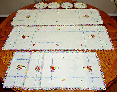 VTG Hand Made Hand Embroidered Crochet Doily Table Scarf Set of 9 NEW NEVER USED