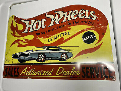 HOT WHEELS BY MATTEL SALES SERVICE AUTHORIZED SERVICE METAL SIGN Sealed
