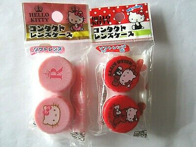 Hello Kitty Contact Lens Cases Sanrio Red or Pink, NEW