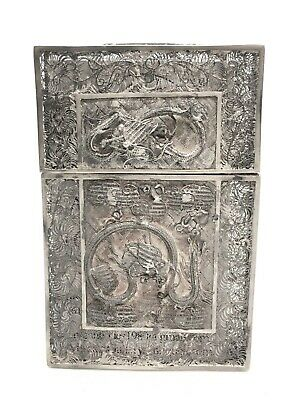 19th C. Solid Silver Chinese Filigree Calling Card Case W/ Phoenix & Dragon
