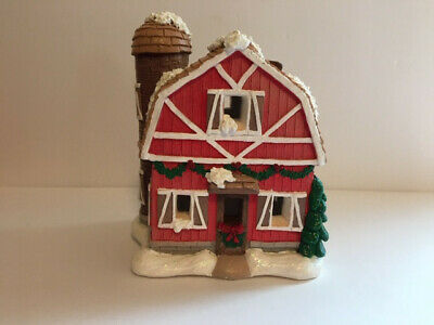 "California Creations  #10264 ""Barn w/Silo"" Painted Plaster Building"