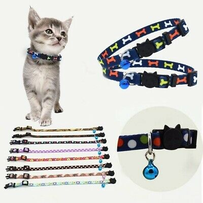 Cat Collar With Bell Safety Buckle Kitten Small Cat Nylon Collar ca