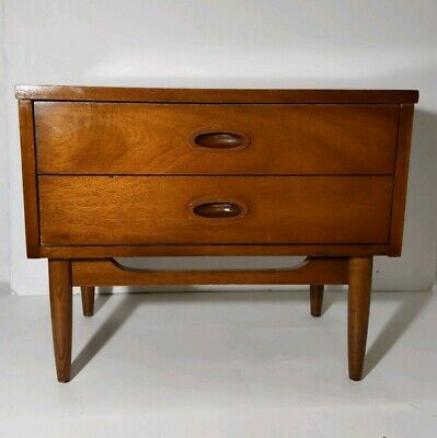 DIXIE - Mid Century Modern 2-Drawer Wooden Nightstand/Table - Commode 7521