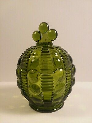 Emerald Green Glass Candy Dish With Lid
