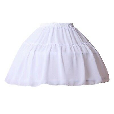 YULUOSHA Women Girls Crinoline Petticoat 2 Hoops Skirt Chiffon Ball Gown Shor...