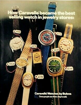 1972 Advertising Caravelle Watch Bulova Best Selling Jewelry Color Print Ad