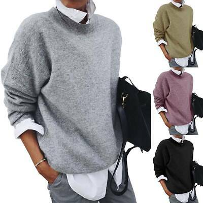 Womens Plus Size Shirt Collar Layered Sweater Knitted Jumper Pullover Baggy Tops