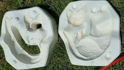 ceramic mold, Napping shelf cat