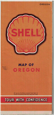 1940s WWII Vintage Shell Gas Staions Road Map of Oregon