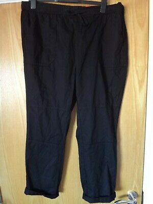 Black Crop Pull on Trousers Plus Size 18 20 22 24 26 Luxury Stretch Jersey PS195