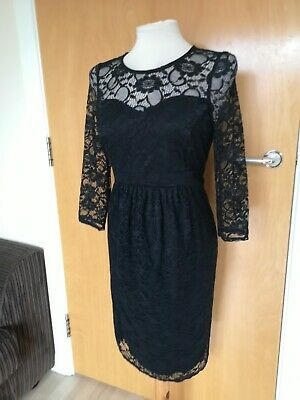 Ladies Maternity Dress Size 10 RED HERRING Black Lace Wiggle Party Pregnancy