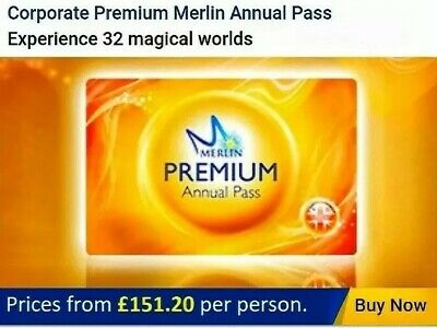 Merlin Annual Pass 20% Discount, Premium from £151.20pp please see description.