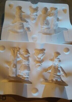 ceramic mold, 3 piece children in the snow
