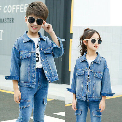 IENENS 1PC Young Boys Girls Fashion Jacket Clothes Kids Denim Simple Style Coat