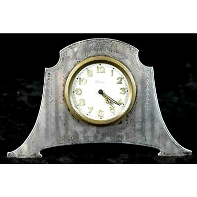 Rare Antique Concord Sterling Silver 8-Day Deco Travel Clock