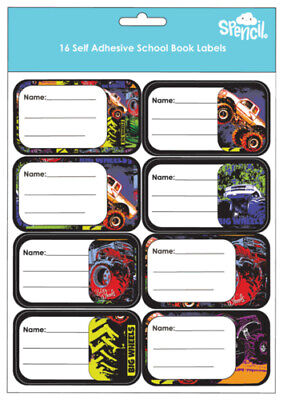 SPENCIL School Book Name & Subject Labels/Tags 16 Pack - Big Wheels