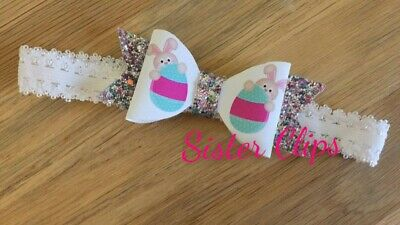 Baby Girls glitter cute easter rabbit egg bow Soft Elastic headband