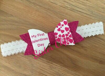 Baby Girls glitter cute my 1st first valentine's day bow Soft Elastic headband