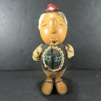 Vintage - Carved Wooden Man / Pucker Lips / Kissing - Leather Cap w/ White Cross