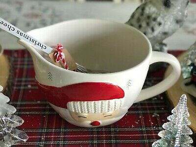 Mud Pie Mudpie Christmas Santa 2 Piece Batter Bowl & Whisk Set NWT