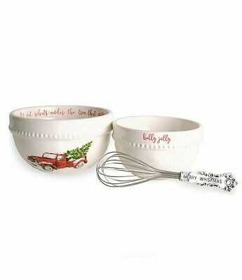 Mud Pie Mudpie Christmas Prep Bowl with  Whisk Set of 3 Red Truck Santa NWT
