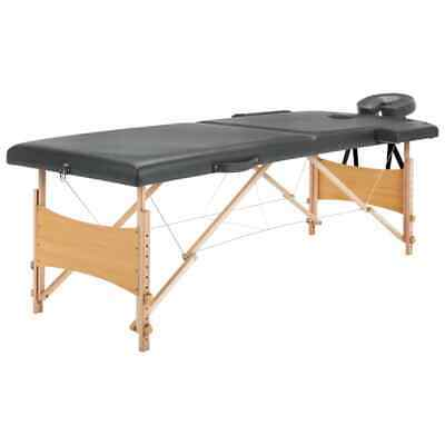 vidaXL Massagetafel met 2 Zones Houten Frame Antraciet Therapietafel Massage