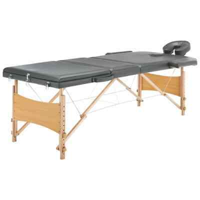vidaXL Massagetafel met 3 Zones Houten Frame Antraciet Therapietafel Massage