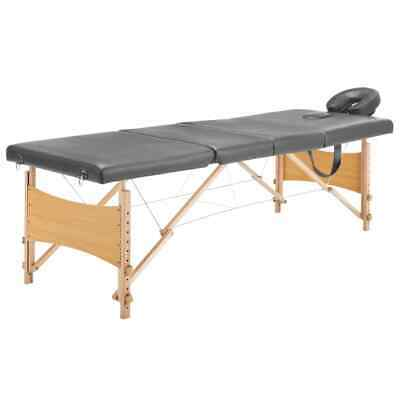 vidaXL Massagetafel met 4 Zones Houten Frame Antraciet Therapietafel Massage