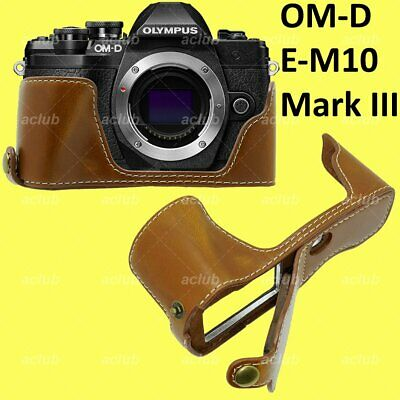 Olympus OM-D E-M10 Mark 3 III PU Leather Half Case Cover - Brown