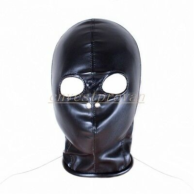 PU Leather Head harness Hood Mask Roleplay Open Eyes breathable Hole Funny Game