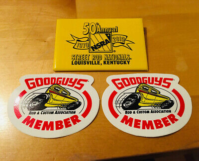 2 x Goodguys Member Sticker, 1 x Street Rod Nationals Anstecker - Hot Rod Custom