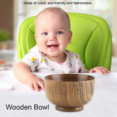 Wooden Bowl Handmade Soup Rice Cereal Food Container Tableware For Children Kids