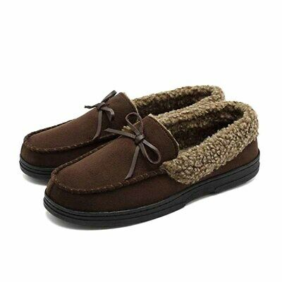 Winter House Slippers Men's Plush Fleece Lined Moccasin Loafers Antiskid Shoes