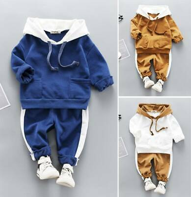 Toddler Baby Kids Boy Girl  Hooded Bear Tops Pants Tracksuit Outfits Set Clothes