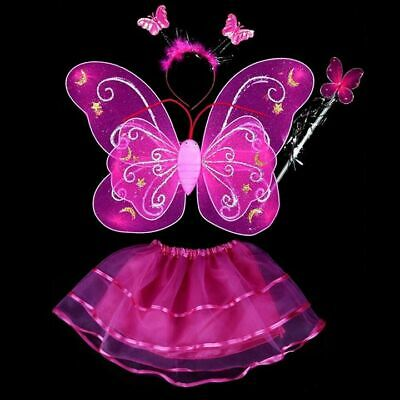 4Pcs Kids Girls Fairy Butterfly Wings Wand Fancy Tutu Dress Dance Party Costume