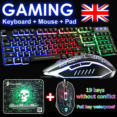 Keyboard and Mouse Set PC PS4 PS3 Xbox One T6 Gaming Rainbow Backlit Mechanical