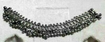 Antique Yemeni silver Bedouin Jewish Handmade anklet Traditional 56 g