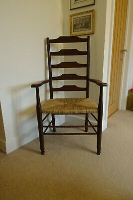 Heal's oak ladderback arm chair, antique Clissett-style Arts & Crafts Edwardian