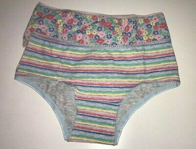 John Lewis Girls' Floral and Stripe Print Hipster Briefs 2 Pack Grey/Multi 6 Yrs
