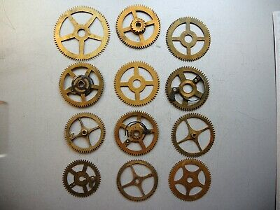 12 x Antique VTG Solid BRASS GEARS PARTS ART Steampunk Collage GUSTAV BECKER c3