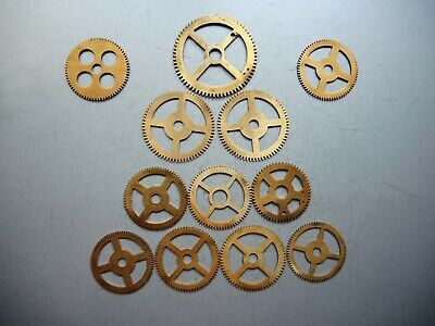 12 x Antique VTG Solid BRASS GEARS PARTS ART Steampunk Collage GUSTAV BECKER c2