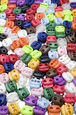 25 Spring Twin Hole Cord Locks / Toggles 14 COLOURS You Choose