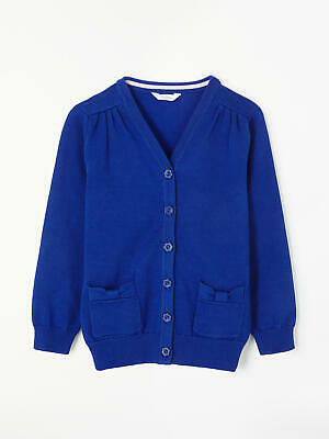 John Lewis Cotton Rich V-Neck School Cardigan / Royal Blue New with Defects