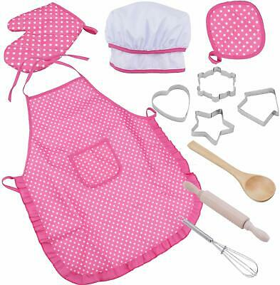 niCWhite Kids Chef Play Set, Kids Cooking Playset,Chef Dress Up Outfit Set with