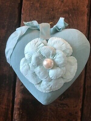 Valentine's Day Turquoise Blue Chalk Painted Puffy Heart W/Paper Flower-1427