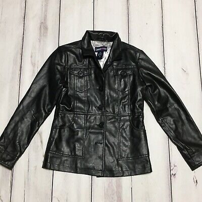 Limited Too Girls Nice Faux Black Leather Jacket Silver Lined W/ Pockets Size 10