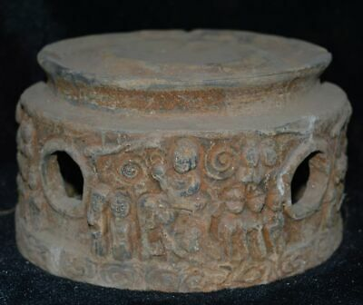China Vintage Han Kingdom Clay Burn Pottery Tomb Burial Inkstone Servant Statue