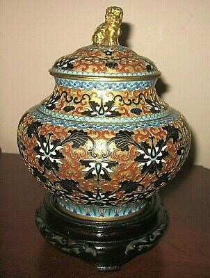 Early 20th Century Chinese Gilt Bronze Enamel Cloisonne Ginger Jar, wooden stand