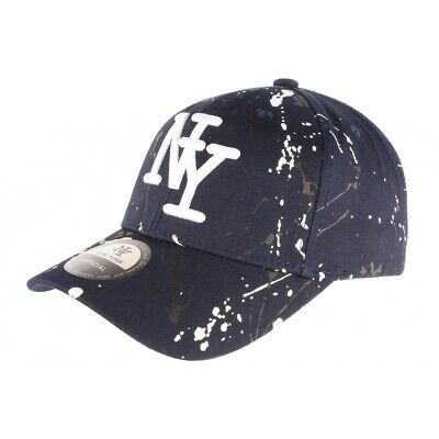 Casquette NY Bleue et Blanche Look Tagué Streetwear Baseball Paynter